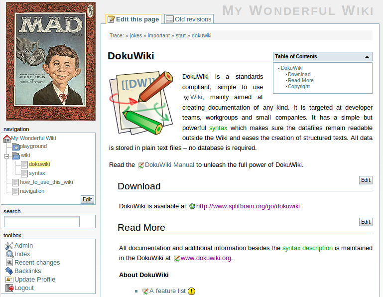 Dokuwiki Tutorial Part 2: Navigation and Appearance - tech ...